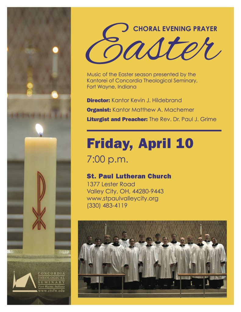 Kantorei Easter Tour 2015-ValleyCity